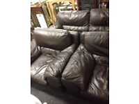 Brown leather 3 seater and 2 chairs free delivery