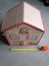 Raffia house shaped storage box