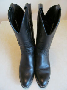 MEN'S GENUINE BLACK LEATHER WESTERN COWBOY BOOTS