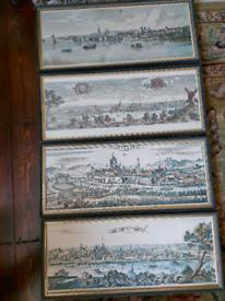 Set of Six Vintage Prints 57cm by 24cm