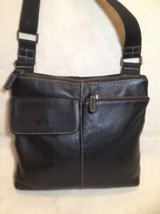 Small Authentic Roots Black Leather/Nylon Cross Body Bag