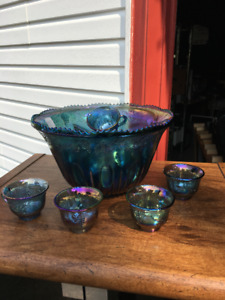 3 CARNIVAL GLASS PUNCH  BOWLS & 12 CUPS EACH & SCOO P S