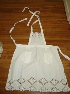 7 battenburg & lace pillows and 1 vintage apron London Ontario image 8