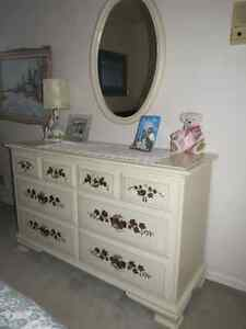 Bedroom Set - Solid Wood White w/Mirror, Side Night Table + Bed