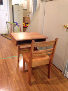Child's desk: small: solid wood: has attached seat