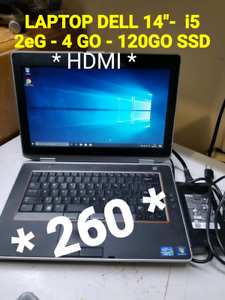 "LAPTOP DELL 14"" - i5 2eG - 120 GO *SSD* + HDMI"