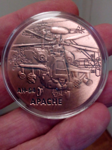 LARGE 40mm UNITED STATES ARMY APACHE HELICOPTER COIN.