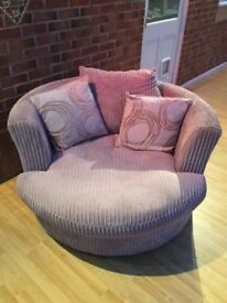 DFS sofa, round in mink grey colour