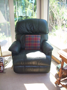 Hunter Green Leather Recliner Sofa Chair