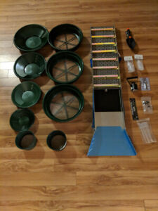 Gold panning and sluice box gear