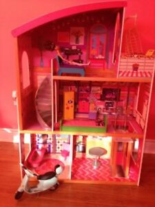 Child's doll house with furniture