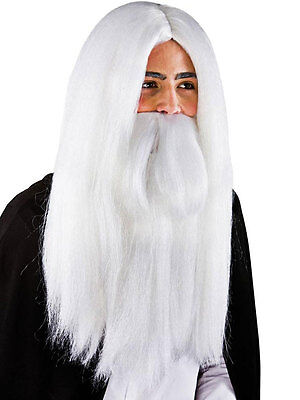 Men's Long White Wizard Wig & Beard Halloween Gandalf Merlin Fancy Dress
