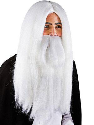 Men's Long White Wizard Wig & Beard Halloween Gandalf Merlin Fancy Dress