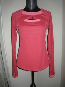 Lululemon Two Piece Red Striped Tank Top w/ LS Cover Up Mesh 10