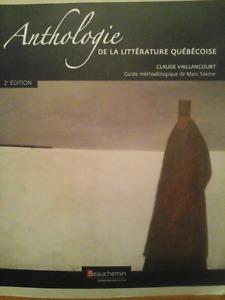 ANTHOLOGIE De La Litterature Textbook