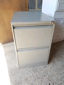 Two drawer metal filing cabinet with keys, delivery available