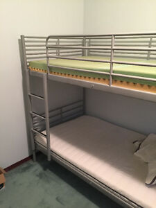 Ikea grey bunk bed and mattress set