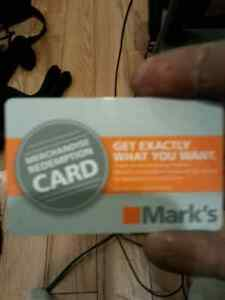 Marks gift card  $144.06