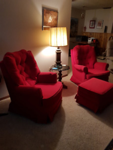 2 Matching Red Swivel Rockers with Ottoman
