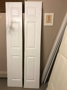 Narrow panel interior closet doors open as french doors