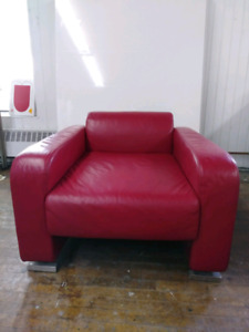 Stylish *Red Leather* Club Chair