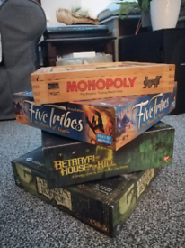 Board games: Arkham horror, Monopoly, Five Tribes, Betrayal at House..
