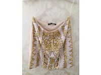 TOPSHOP EMBELLISHED TOP in XS