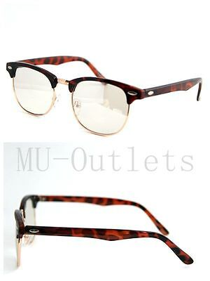 - New Classic Clear Lens Clubmaster Wayfare Half Metal Frame Sunglasses Brown