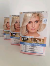 3 x L'Oréal Excellence Permanent Blonde Hair Dye 03 Ultra Light