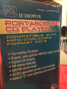 Audiovox Portable MP3, CD,  AM/FM Stereo Player
