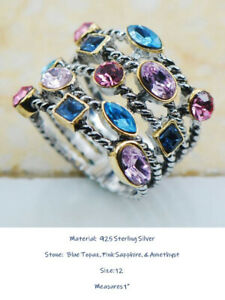 925 SS RING with GENUINE BLUE TOPAZ, PINK SAPPHIRE, & AMETHYST