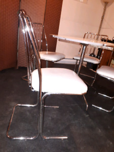 Vintage chrome dining set with 4 chairs and drop leaf table