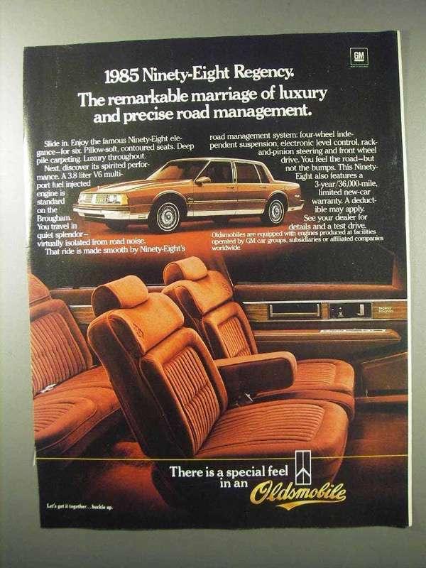 1985 Oldsmobile Ninety-Eight Regency Car Ad