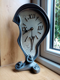 Salvador Dali melting clock, silver tone