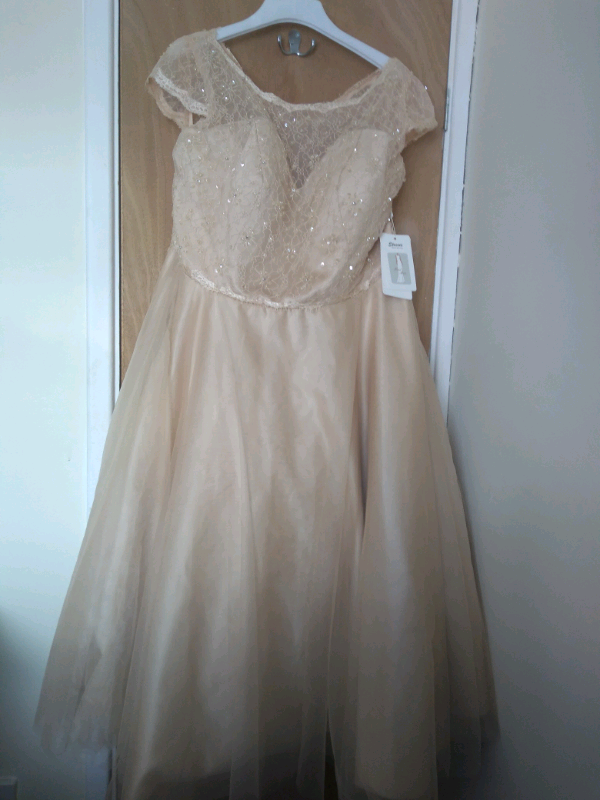 e86c967d81 bnwt Stacees bridesmaid dress - champagne - custom made - waist uk ...