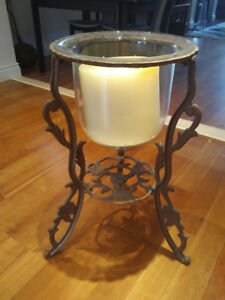 Large Wrought Iron and Glass Candelabrum (Candle Holder)