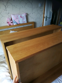 Solid oak underbed drawers X2