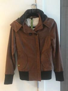 Ladies brown leather jacket with hood