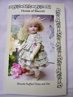 """11"""" Bleuette Doll Pattern  Ruffled Dress and Hat"""