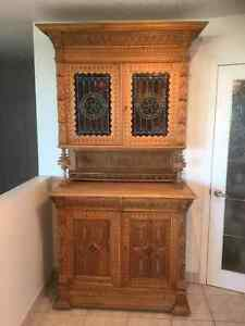 Antique buffet and hutch (early 1900's) solid oak