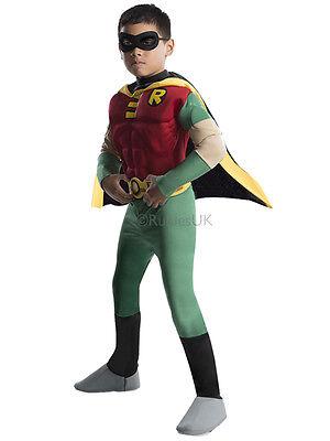 Child Licensed Robin Deluxe Muscle Chest Fancy Dress Costume Batman Boys Kids BN