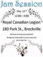 Jam  Session Sunday    May 22nd   12pm -  4pm Brockville Legion