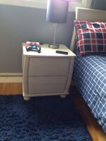 Sleigh Bed Solid Birch New & Matching end Table