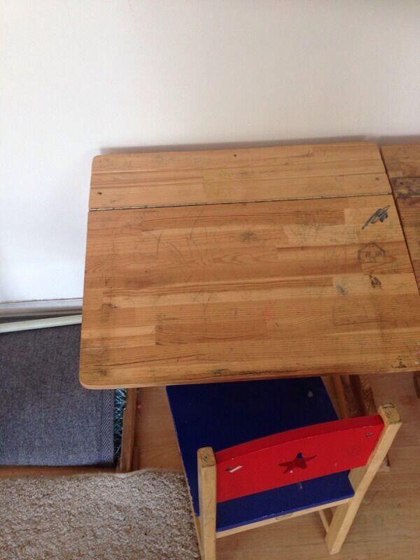 Childrens school deskx3in Slough, BerkshireGumtree - Childrens school desk with chair , I have 3 sets. selling them 20 pound each one , open to offers . Good for children up to age of 6