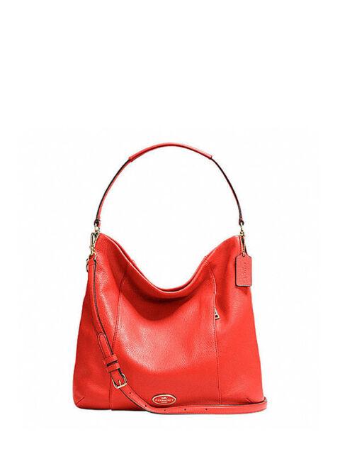 Coach Pebbled Leather Shoulder Handbag in Cardinal F 34511 | eBay