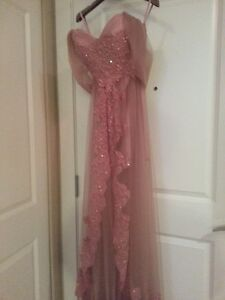 Pink Champagne Dress with pearls, applique and rhinestones