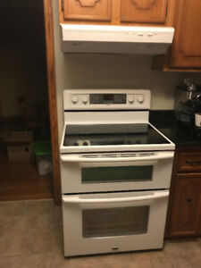 Maytag glass top range with double oven