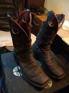 Squaretoed Dark brown bull hide Boulet Cowboy boots $120 Kingston Kingston Area image 1