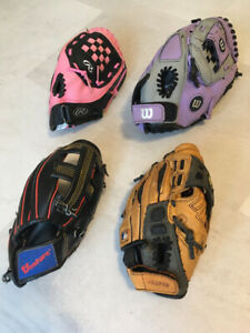 Wilson, Venture and Rawlings Youth Baseball Gloves