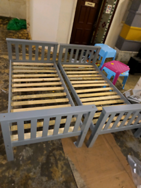 Grey single bed Frames wooden ex display assembled only £50 each. RBW
